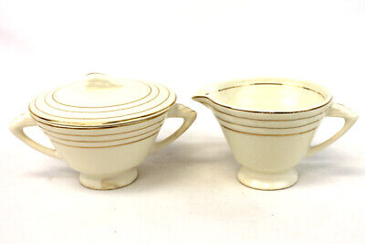 Porcelain USA Creamer and Sugar Bowl Ivory Colored with Gold Trim Gold Trim Sugar Bowl