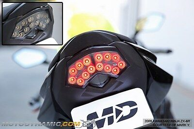 2009-2012 Kawasaki ZX-6R 2008-2010 ZX-10R SEQUENTIAL Signal LED Tail Light SMOKE