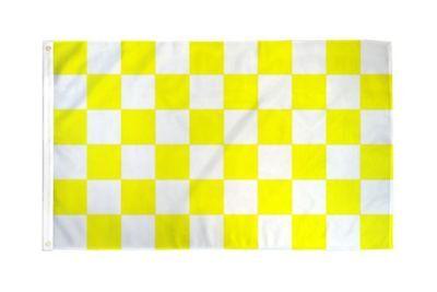 Checkered Yellow & White Flag Banner 3' x 5' Polyester