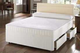 """Double Deep Quilted Bed'' -- Brand New Double Divan Base With 9"" Deep Quilted Mattress"