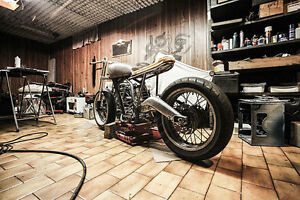Motorcycle storage and walk in garage service.