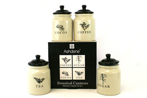 Set of 4 Botanical Canisters - Coffee Sugar Cocoa Tea Ashdene Stoneware