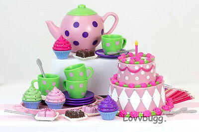 "Lovvbugg Mini Party Tea Set 25 pc for 18"" American Girl Doll Food Accessory"