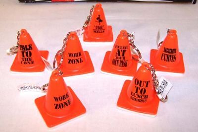 12 Expression Traffic Cones Key Chains Fun Car Toy Item Novelty Keychain Cone