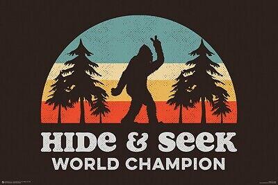 BIGFOOT - HIDE & SEEK WORLD CHAMPION POSTER 24x36 - FUNNY HUMOR 11480
