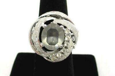 Vintage Uncas Hallmark Sterling CZ Cocktail Ring Costume Jewelry Size 8