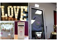 Selfie magic mirror + free guest book + Red carpet & Ropes + Candy Cart + 4ft LOVE letter + post box