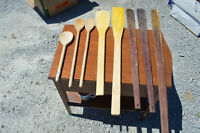 Eight Large Wooden Spoons and Laddles