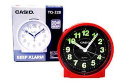 Casio Analog Quartz Table Top Red Resin Beep Alarm Clock TQ228-4D