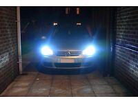 VW Golf MK5 Complete Xenon HID Conversion Kit H7 6000k, Bulb Holders, LED Sidelights, Warranty.