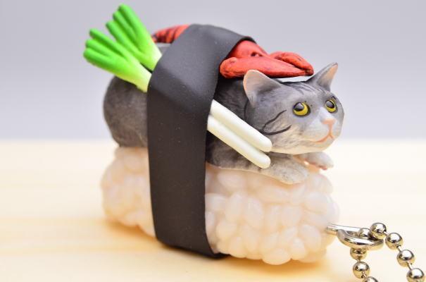 Kitan Club Capsule Sushi Neko Cat Meow Keychain Charm Type Nyadai ニャー太 Figure