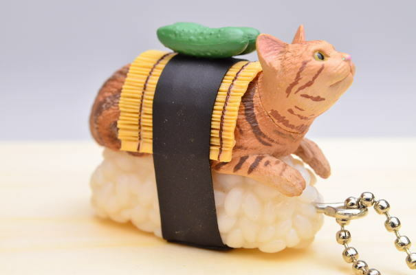 Kitan Club Capsule Sushi Neko Cat Meow Keychain Charm Type Wasabi ワサビ Figure