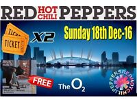 2 x Red Hot Chili Peppers Tickets @ London O2 arena, SUNDAY 18/12/2016 - 2 x Tickets & FREE ALBUM !!