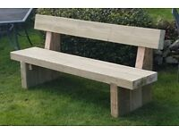 Double railway sleeper bench with back support garden furniture set summer set Loughview Joinery