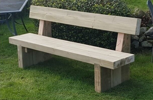 double railway sleeper bench with back support garden. Black Bedroom Furniture Sets. Home Design Ideas