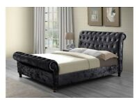 BLACK SILVER AND CREAM** BRAND NEW Double Sleigh Bed in Silver, Cream Or Black Crushed Velve