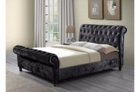 ❋❋ SPECIAL OFFER ❋❋ ASTRAL CRUSHED VELVET FABRIC SLEIGH DOUBLE SIZE BED FRAME IN BLACK / SILVER