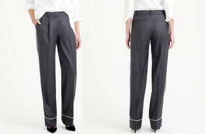 - J. Crew Collection NWT Grey Wool Flannel Pleated Piped Trousers Pants XS 0 $158