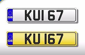 KUI 67 DATELESS CHERISHED NUMBER PLATE REGISTRATION- valued at £1700