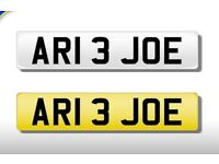 NUMBER PLATE AR1 3 JOE