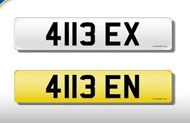 41BEN and 41BEX ? 4113 EN & 4113 EX Registration numbers on certificates. DVLA fee paid.