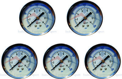 5 Air Compressor Pressurehydraulic Gauge 2 Face Back Mount 14 Npt 0-200 Psi