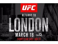 x3 tickets UFC Fight Night, 18th March, O2 Arena