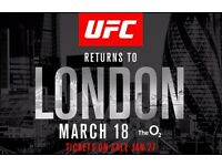 UFC London Sat 18th March. 2xTickets . £125 each