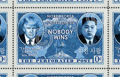 Trump Kim Jong Un Korea Nuclear - (Cinderella, Artistamp, Faux Postage)  RESIST!