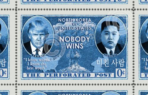 Trump - Kim Jong Un - Korea, Nuclear - (Artistamp, Faux Postage, REPRO)