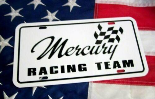 White Mercury RACING License plate tag 1965 1966 1967 1968 1969 1970 1971 1972