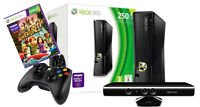 xbox 360 black slim 250gb + 2 control with charge kit + kinect