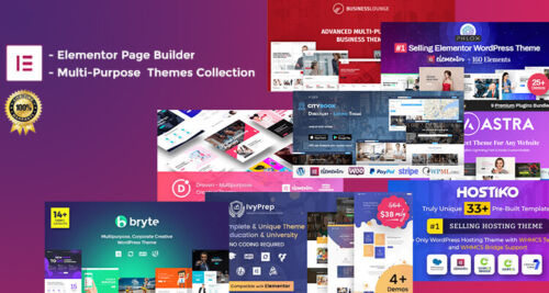 Elementor Pro + MultiPurpose Themes Collection - Elementor Compatibility -