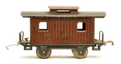 Lionel Prewar O Ga. 801 Brown 4-Wheel Caboose w/Black Roof Wabash RR... Lot 2348