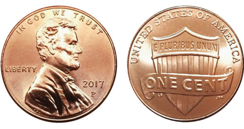 2017 P Lincoln Shield Cent - GEM BU from Bank Rolls