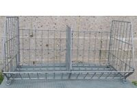 Stacking wire display baskets with wheels and without wheels for picking and retail environments