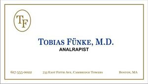 Arrested development tobias funke analrapist novelty for Tobias business card