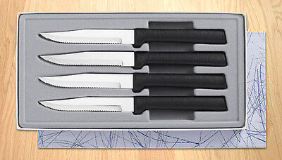 RADA CUTLERY G24S Four Serrated Steak Knives Gift Set - Black Handle