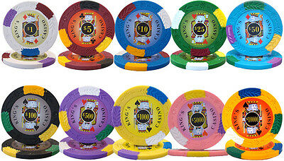 New Bulk Lot of 1000 Kings Casino 14g Clay Poker Chips - Pick Denominations! ()