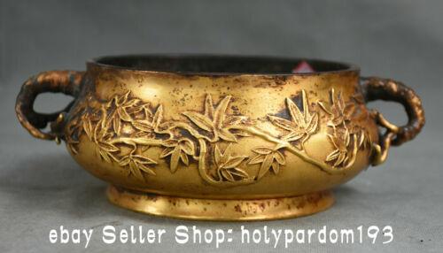 "8.2"" Marked Old Chinese Bronze Gilt Dynasty Bamboo Handle incense burner Censer"