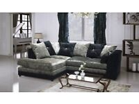 NEW L/H BLK/SIL CRUSHED VELVET CORNER SOFA INCLUDES FREE DELIVERY & FREE MATCHING STOOL FOR £299.99