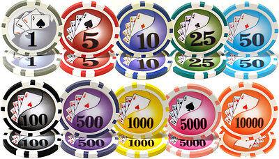 NEW 200 PIECE Yin Yang 13.5 Gram Clay Poker Chips Bulk Lot Select Denominations