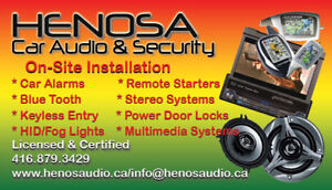 Install, Remote Starter, Car Audio, Security. On-Site Service