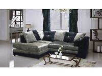 NEW L/H BLK/SIL CRUSH VELVET CORNER SOFA INCLUDES FREE FOOTSTOOL & DELIVERY ALL FOR ..£299.99