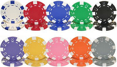 500 Striped Dice Poker Chip (New Bulk Lot of 500 Striped Dice 11.5g Clay Poker Chips - Pick)