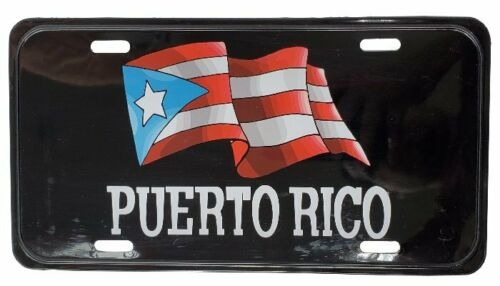 "Puerto Rico Flag Flag Black 6""x12"" Aluminum License Plate Tag ( Tablilla )"