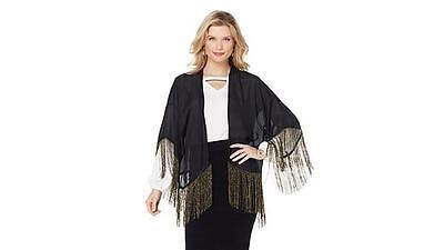 Wendy Williams Top Metallic Fringe Kimono Black Size Medium