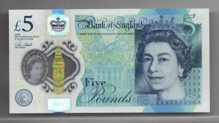 1 BRITISH  £5.00 POUNDS, POLYMER BANKNOTE, Q.E.II, REAL CURRENCY 2015 Series