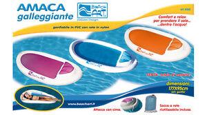 AMACA GALLEGGIANTE GONFIABILE MATERASSINO PISCINA MARE 177CM X 95CM SACCA RETE - Italia - AMACA GALLEGGIANTE GONFIABILE MATERASSINO PISCINA MARE 177CM X 95CM SACCA RETE - Italia