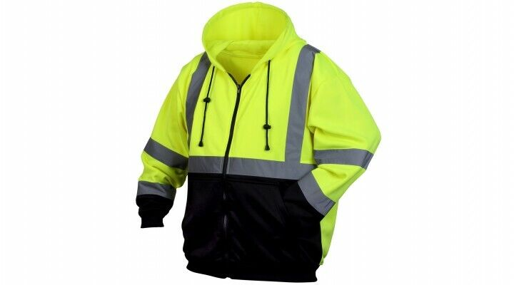 Pyramex RSZH3210 Lime Green Class 3 Black Bottom Full-Zip Safety Sweatshirt M-4X Activewear